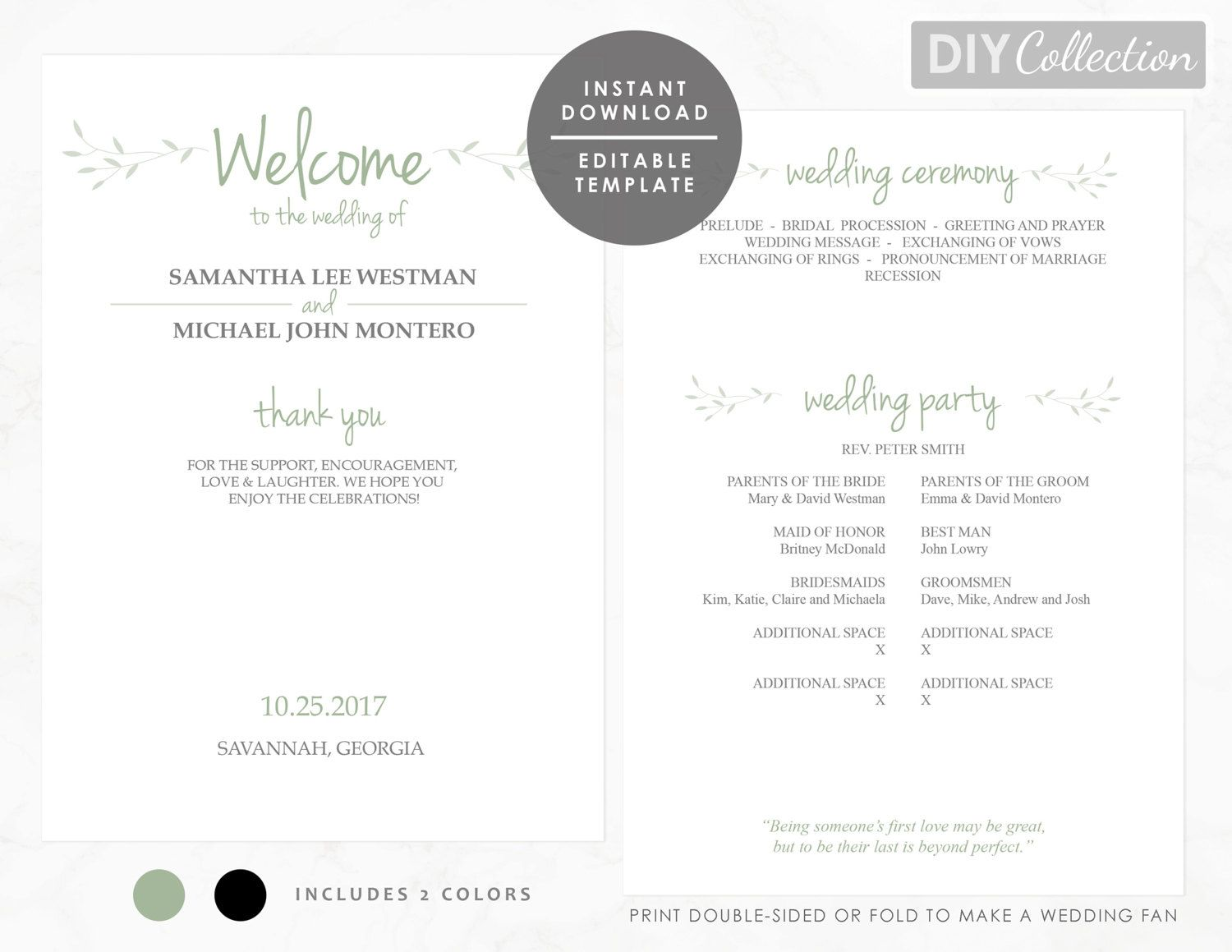 This Is A PRINTABLE X Wedding Program Template Editable PDF - 5x7 wedding program template