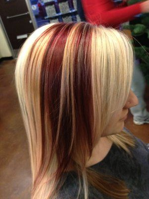 Blonde Hair With Burgundy Highlights Platinum Blonde With Some Pretty Mahogany Chunks By Karli Yelp Hair Hair Streaks Hair Color Burgundy