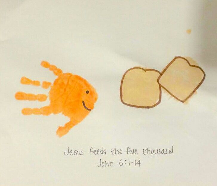 Jesus Feeds The Five Thousand John 61 14 Fish Handprint Bread Palm Print