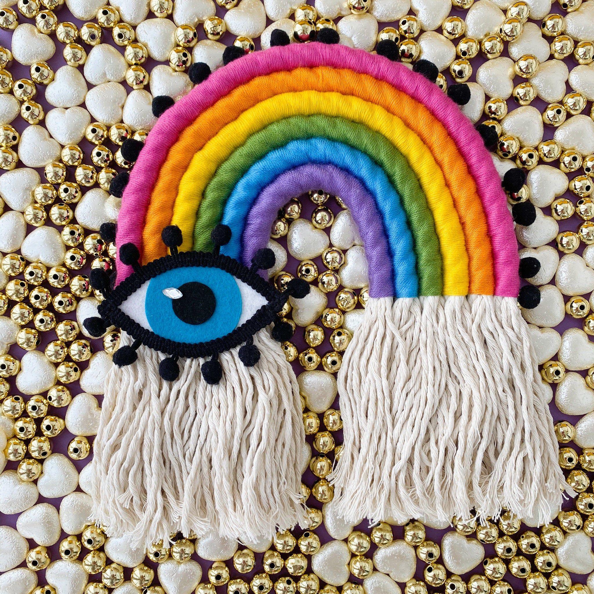 Modern Macrame Rainbow Evil Eye Wall Art Colorful Boho Home Etsy In 2020 Modern Macrame Boho Nursery Decor Colorful Boho