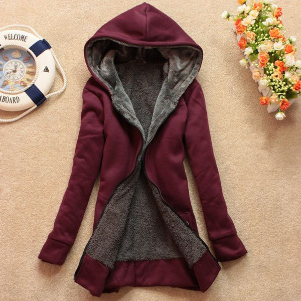 Casual jacket thick wool sweater zipper hooded coat jacket sherpa ...