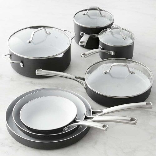 For health-minded cooks, this value-priced collection from Calphalon is a great introduction to the convenience and safety of ceramic nonstick. Foods cook with less oil and release easily from the PFOA-free nonstick surface, and cleanup time is a breeze. Hard-anodized aluminum construction for fast, even heating. White ceramic nonstick finish is PFOA free. Tempered-glass lids. Stay-cool polished stainless-steel handles. 11-Piece Set includes: 8
