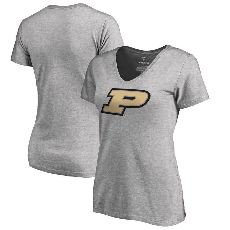 Purdue Boilermakers Fanatics Branded Women's Plus Sizes Primary Team Logo T- Shirt - Ash