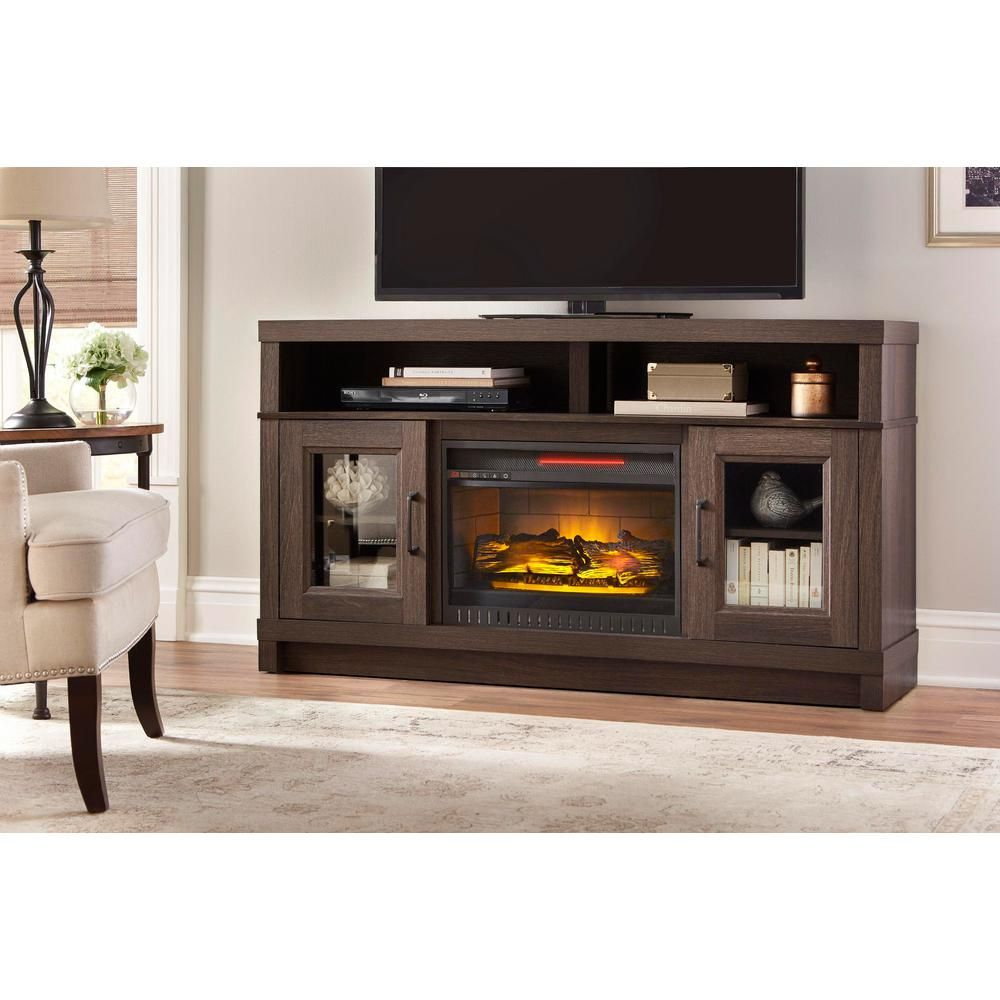 Home Decorators Collection Ashmont 60 In Freestanding Electric Fireplace Tv Stand In Gray Oak Wsfp60echd 34 The Home Depot Fireplace Tv Stand Electric Fireplace Tv Stand Fireplace Tv