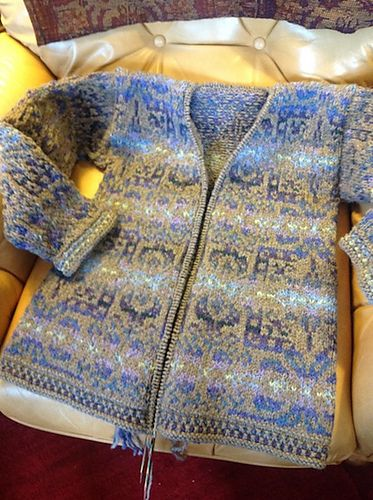 Ravelry: Sandthistle's Wingin' It Fair Isle. Improvised cardigan using Persian Tiles by Jade Starmore.