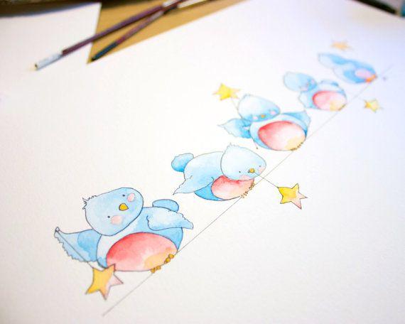 Bluebird Nursery Art Baby Bundle Of Bluebirds