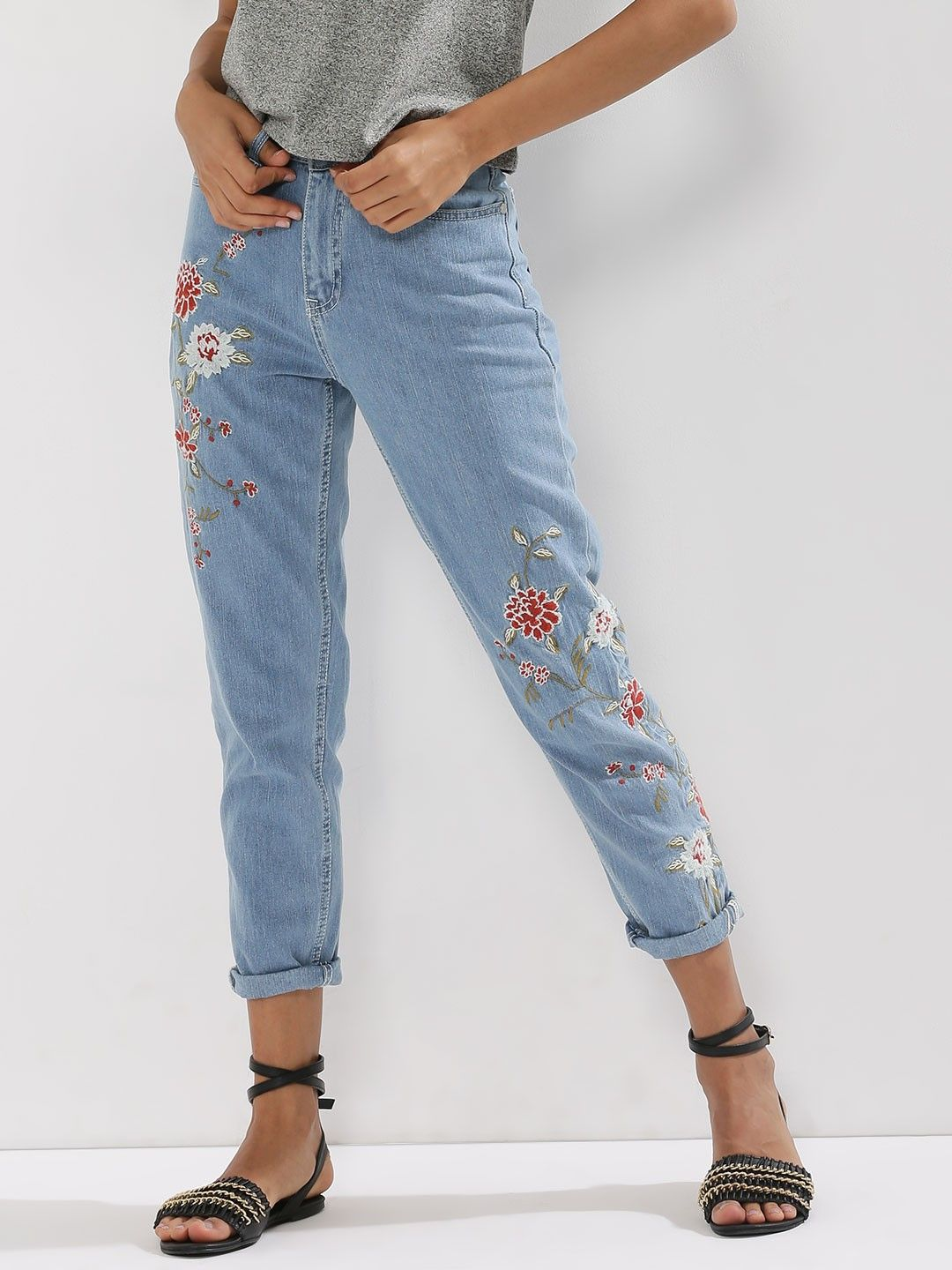 63778233 Buy Floral Embroidered Mom Jeans For Women - Women's Blue Straight ...