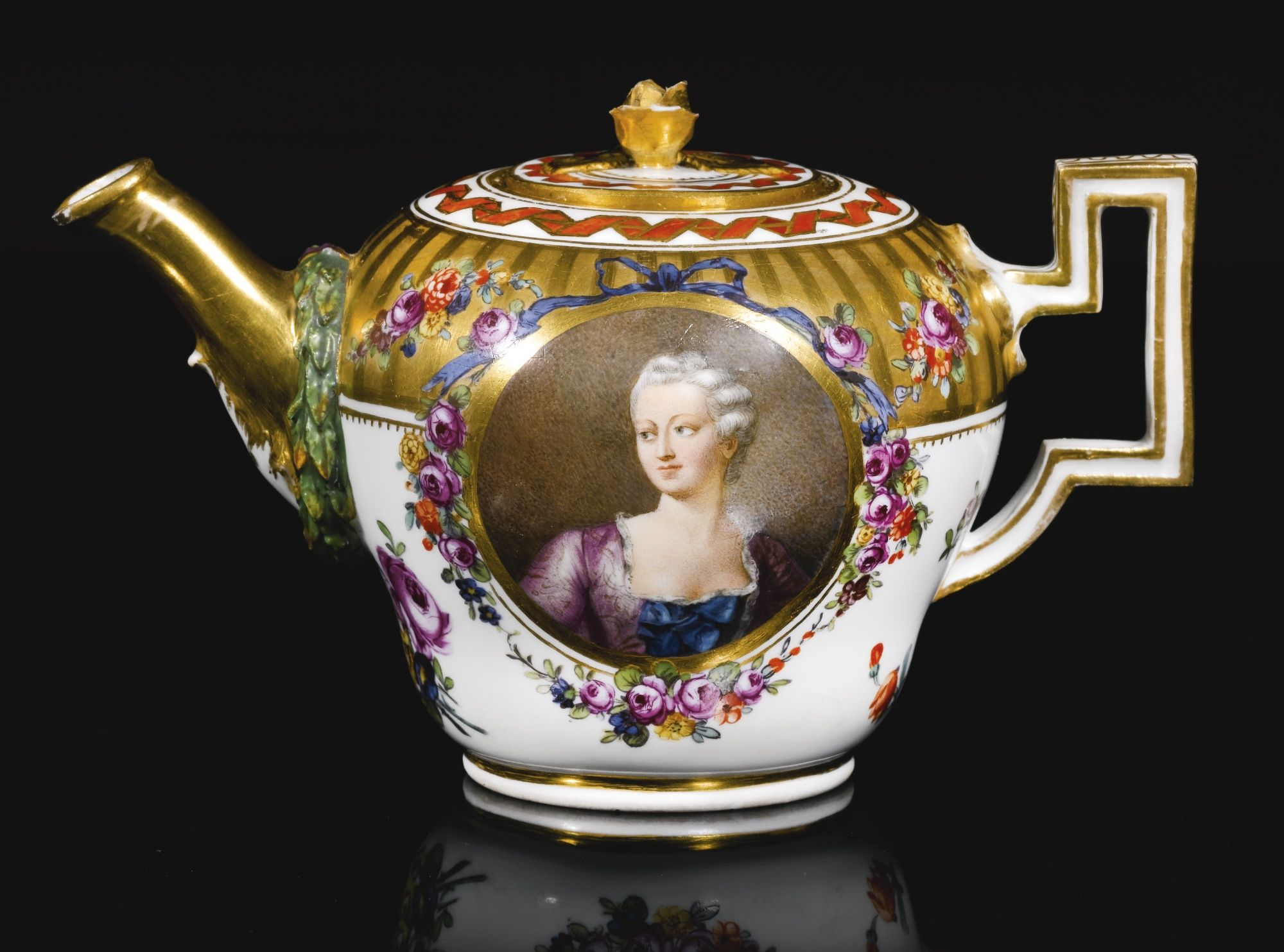 A MEISSEN MARCOLINI TEAPOT AND COVER, CIRCA 1800 of inverted pear shape, finely painted on the front with a shoulder-length portrait of a young woman, the reverse inscribed 'Si non caste, tamen caute' [If not with Integrity, nevertheless with caution] within floral frames, crossed swords and star mark in underglaze-blue, some restoration to handle.