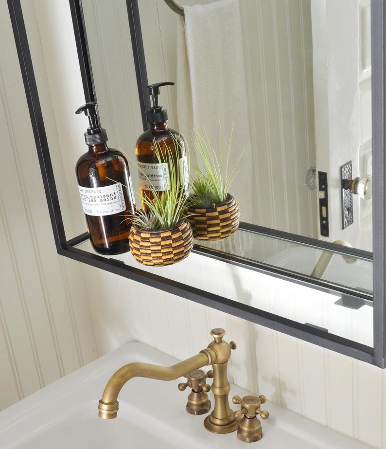 Bathroom Shelf Mirror Modern Industrial Black Steel Metal Framed Bathroom Mirror With Shelf Custom Handmade To Order In 2020 Bathroom Mirror With Shelf Modern Mirror Wall Mirror With Shelf