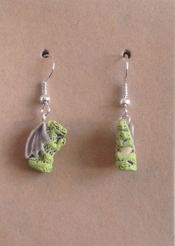 Hand Painted Dragon Bead Earrings by tashsfaecritters on Etsy, $8.00