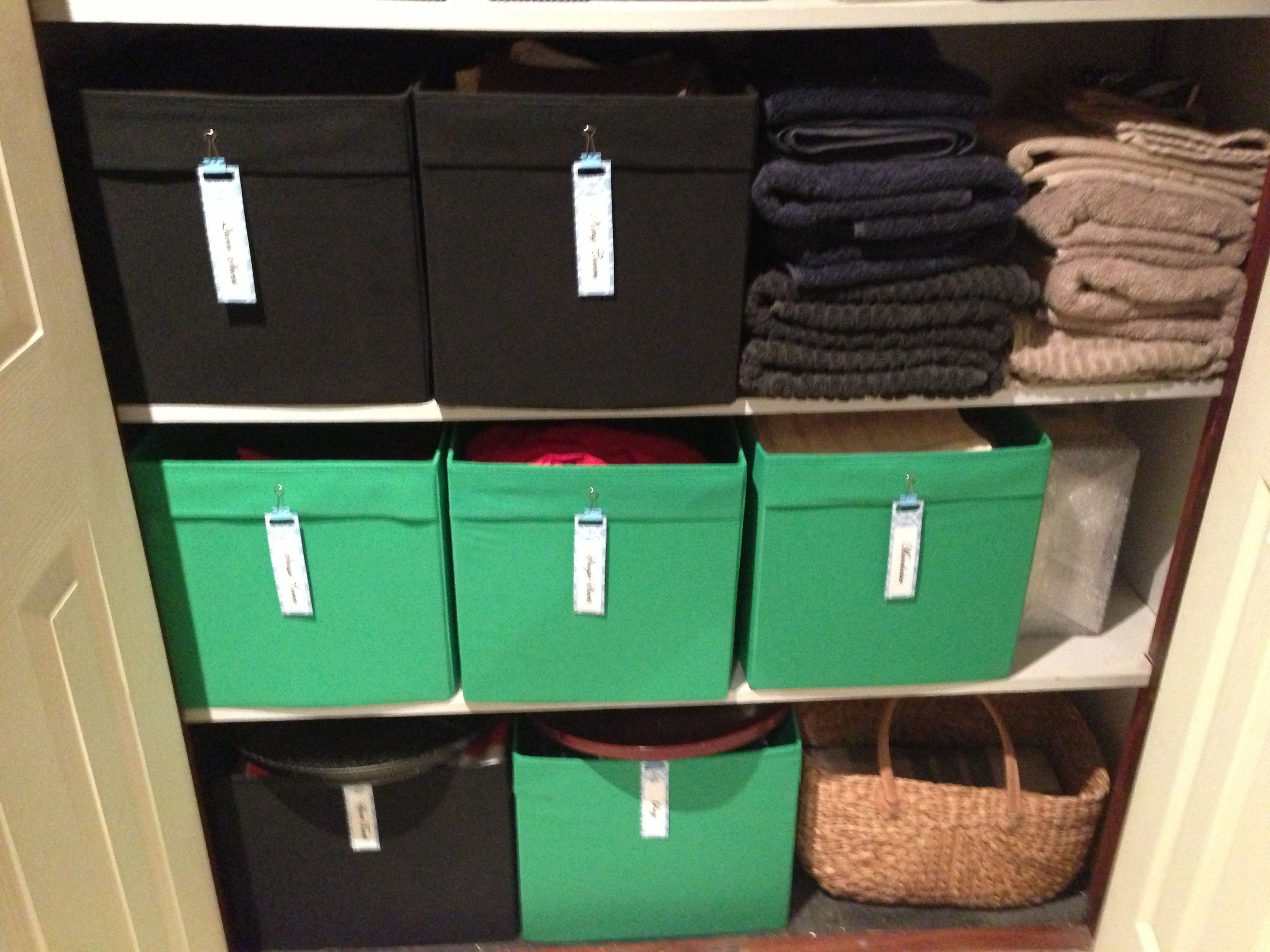 Linen cupboard Organisation. Boxes from Ikea with labels on front ...