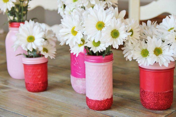 Deko Blumen Vasen Diy Ideen Rosa Rot Design