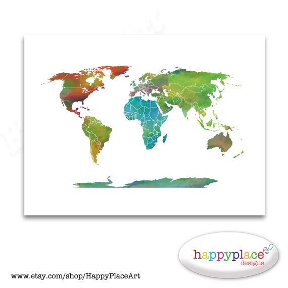 Large watercolour world map with country borders available in large watercolour world map with country borders available in custom large sizes printable digital gumiabroncs Gallery