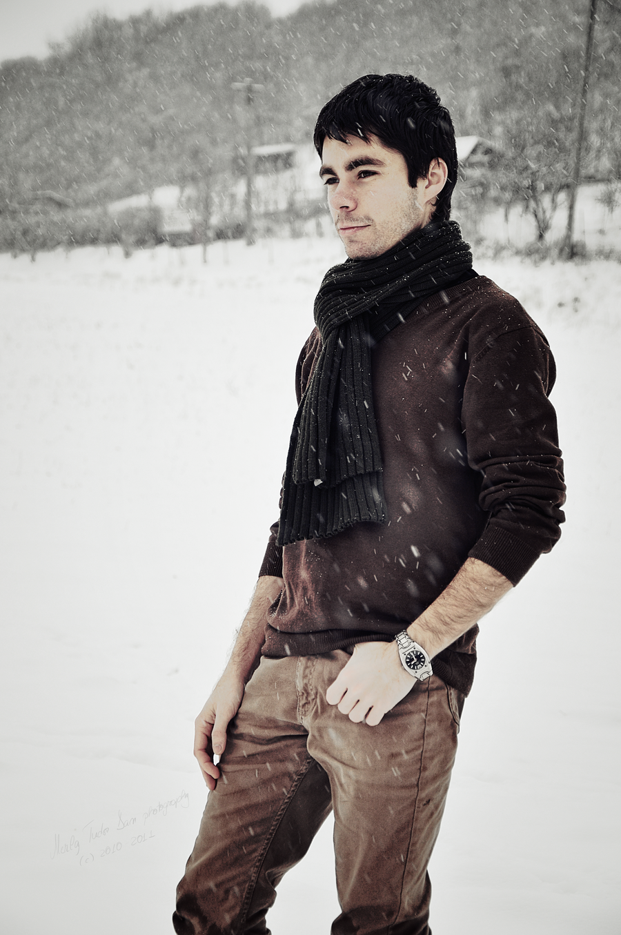 dark scarf, brown sweater, camel pants / men fashion http ...