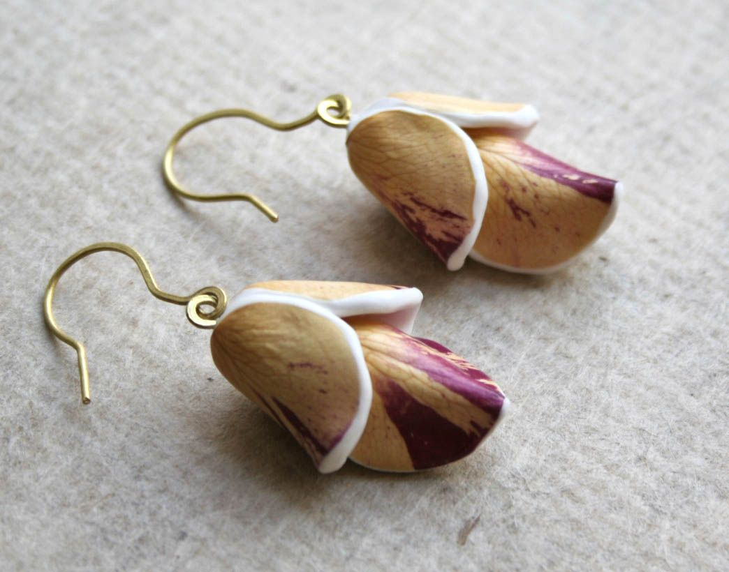 Unique Real Natural Flower Earrings - Botanist In Love Jewelry -  handmade dried flowers jewelry