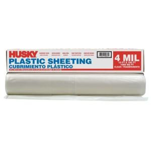 Husky 10 Ft X 100 Ft Clear 4 Mil Plastic Sheeting Cfhk0410c At The Home Depot Mobile Plastic Sheets Home Depot Plastic