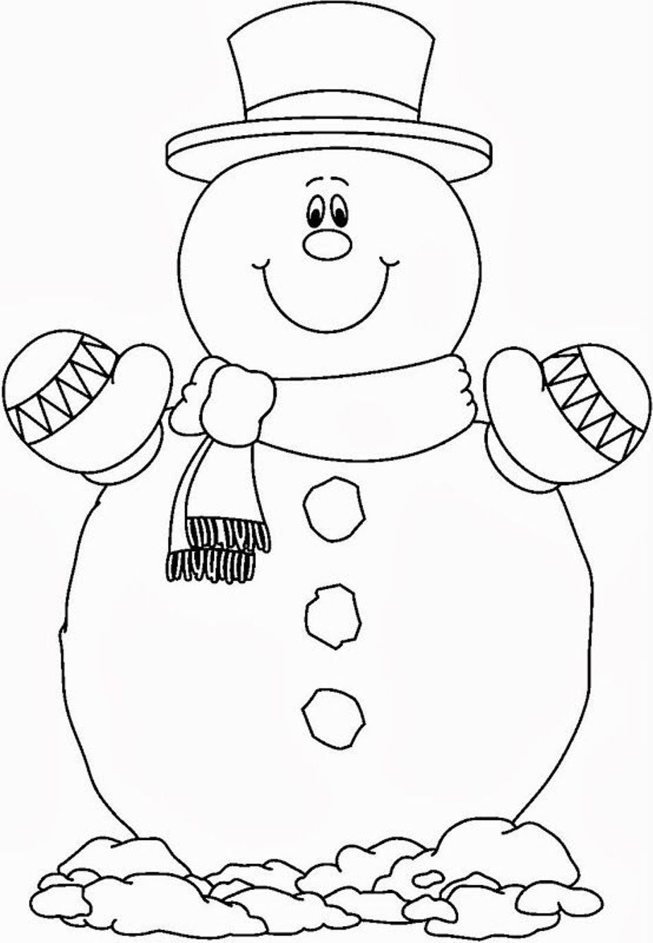 Smilling Snowman Coloring Pages Free Christmas Crafts