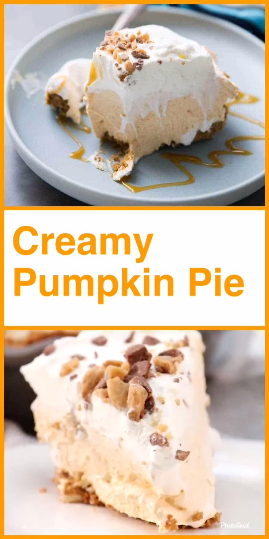 No Bake Creamy Pumpkin Pie #pumpkinpierecipe
