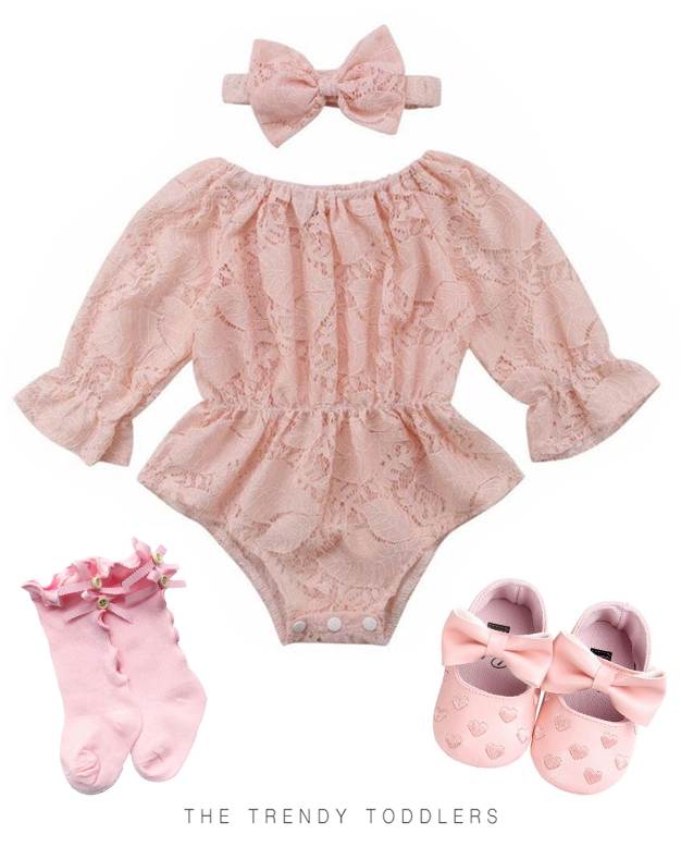 db22b210f8944 Lace Pink Romper   The Trendy Toddlers collection   Baby girl romper ...