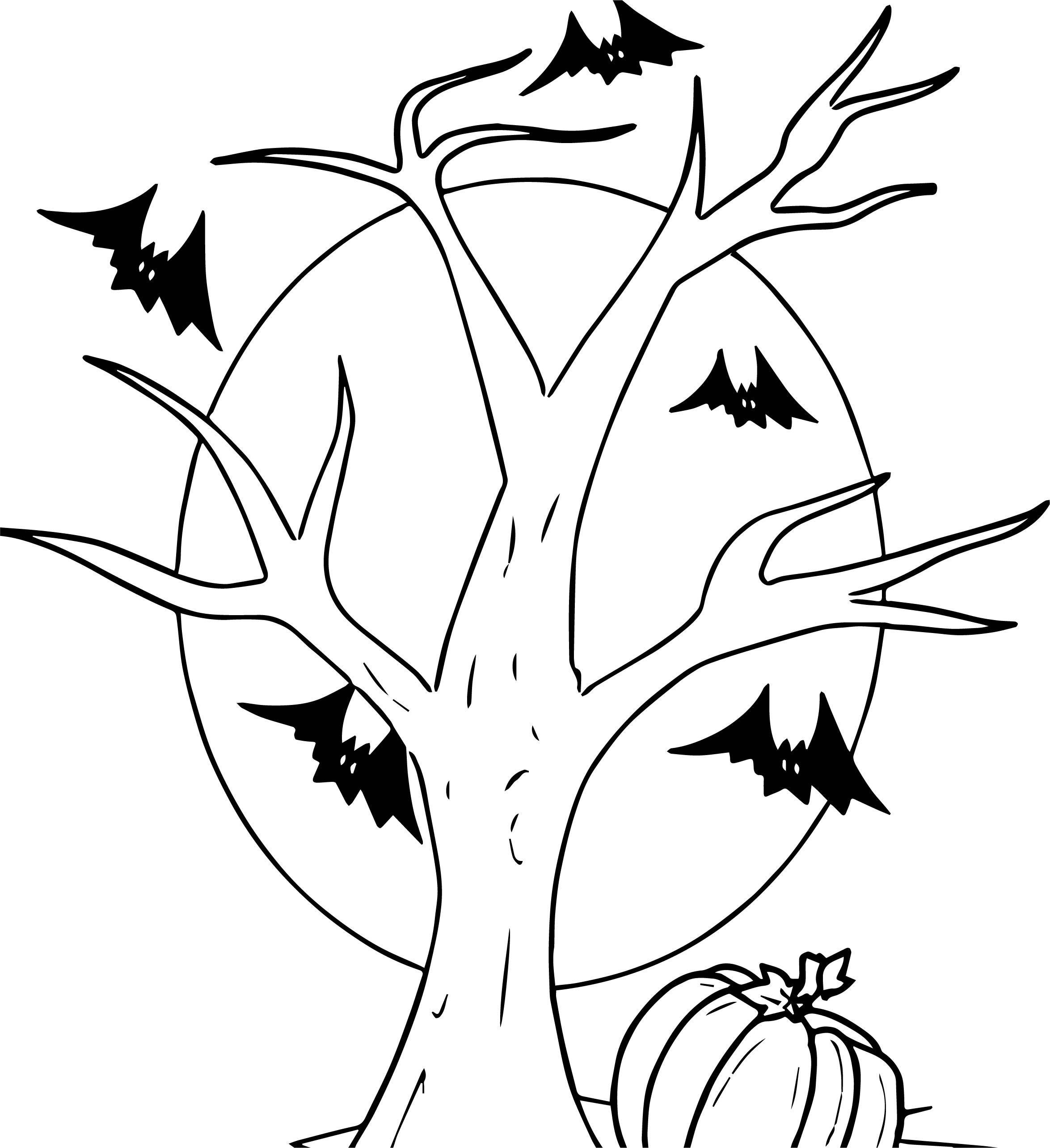 Halloween Tree Pumpkin Bat Cartoon Halloween Coloring Page