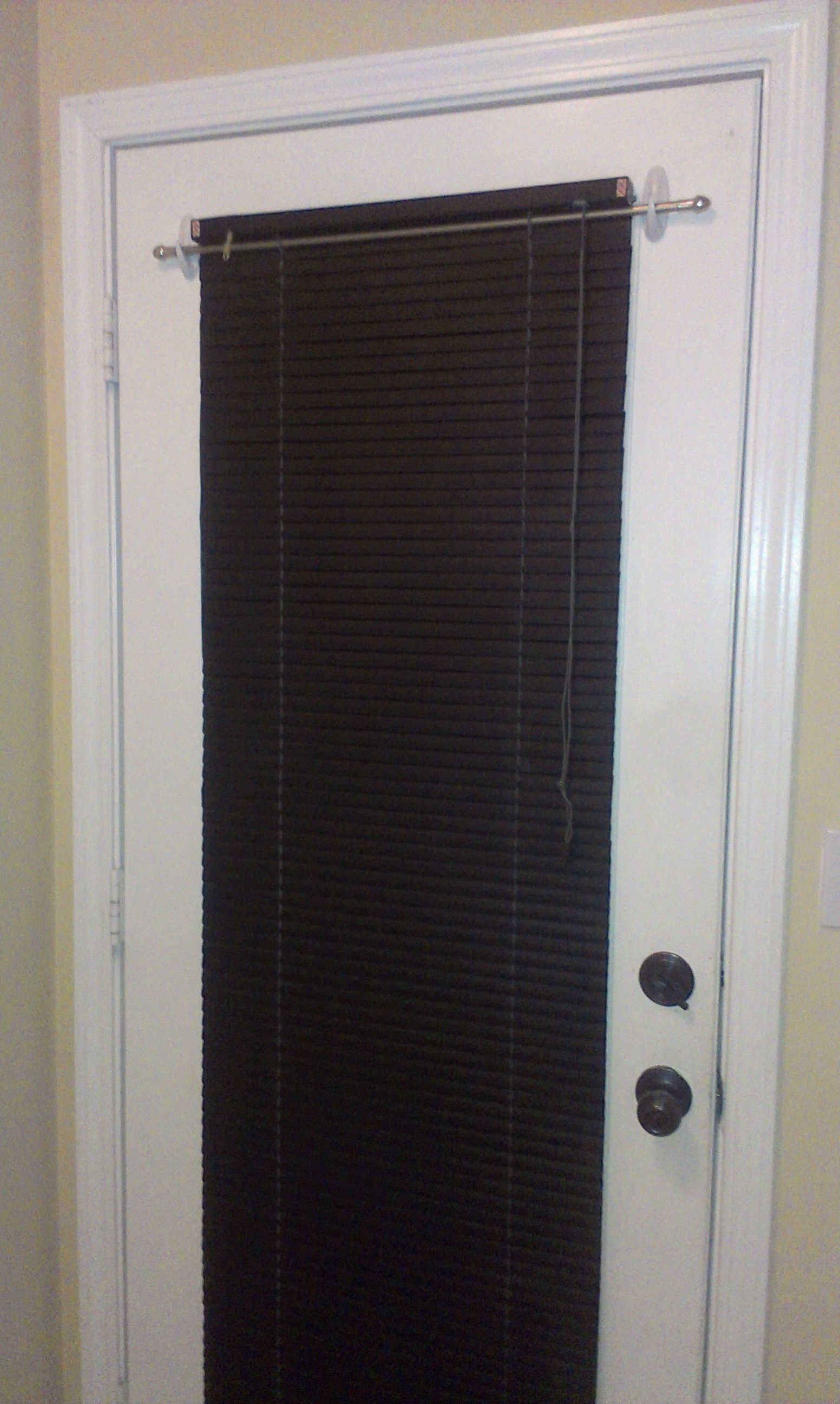 Blinds On A Metal Door With Command Hooks Got A Small Curtain