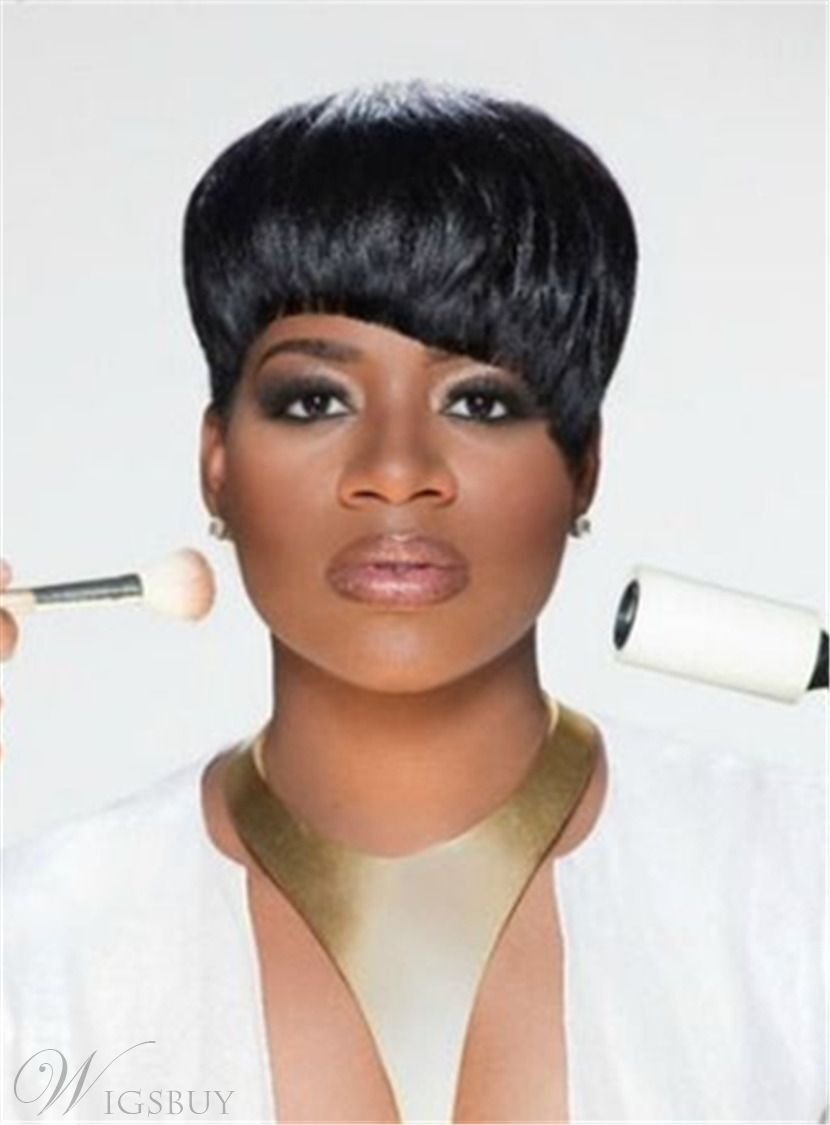 natural black short blunt cut pixie synthetic hair with