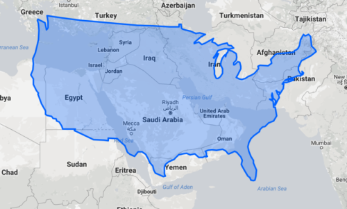 The Middle East compared to contiguous US. | Map, Middle ...