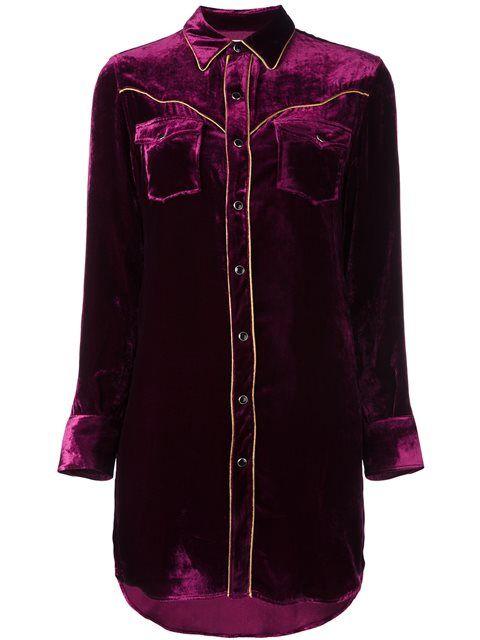 77b56d49 SAINT LAURENT velvet Western shirt dress. #saintlaurent #cloth #dress