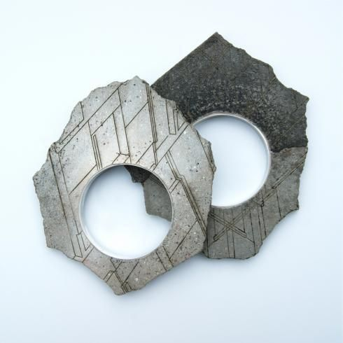 Kate Bradbury.  Bracelets Concrete, spray paint and metal. -http://www.katebradbury.co.uk/