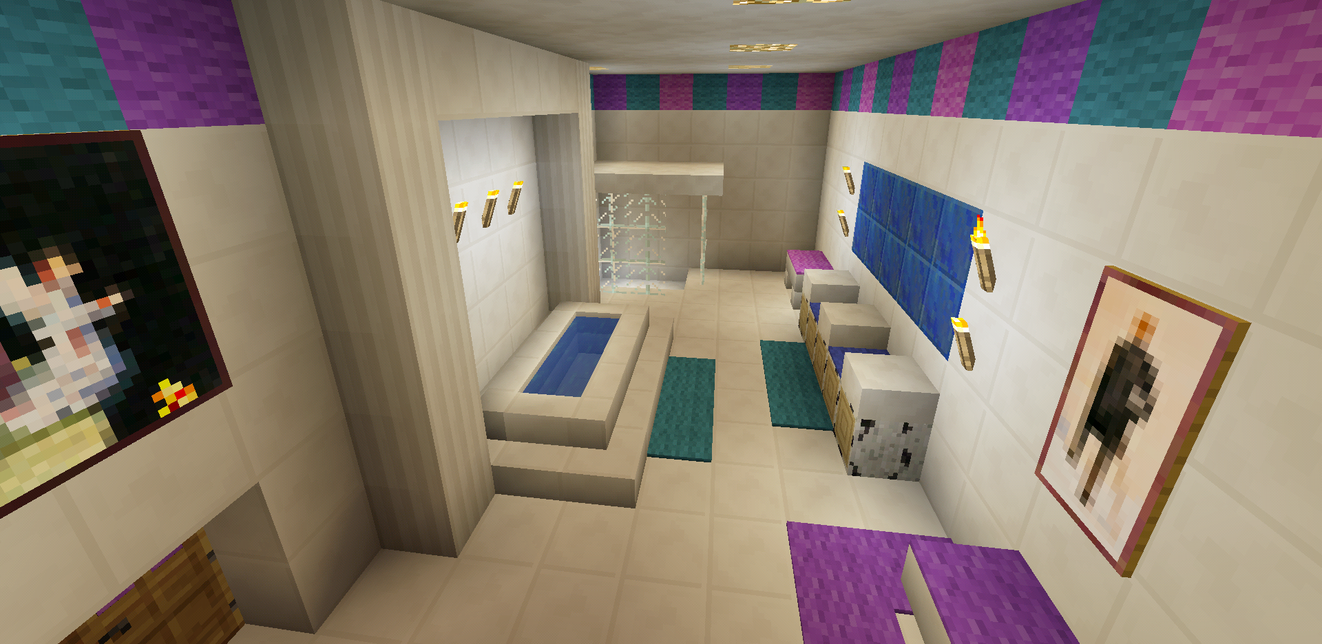 minecraft bathroom pink girl wallpaper wall design shower sink bath tub toilet - Bathroom Ideas Minecraft
