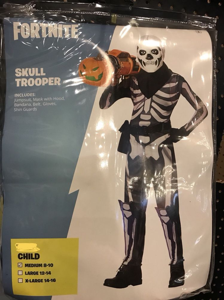 fortnite skull trooper halloween costume 8 10 medium m child boys in hand