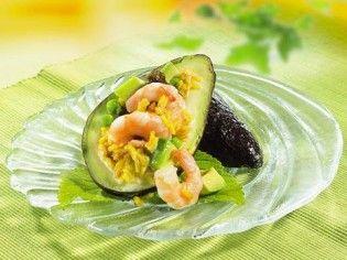 Avocado-Reissalat mit Crevetten