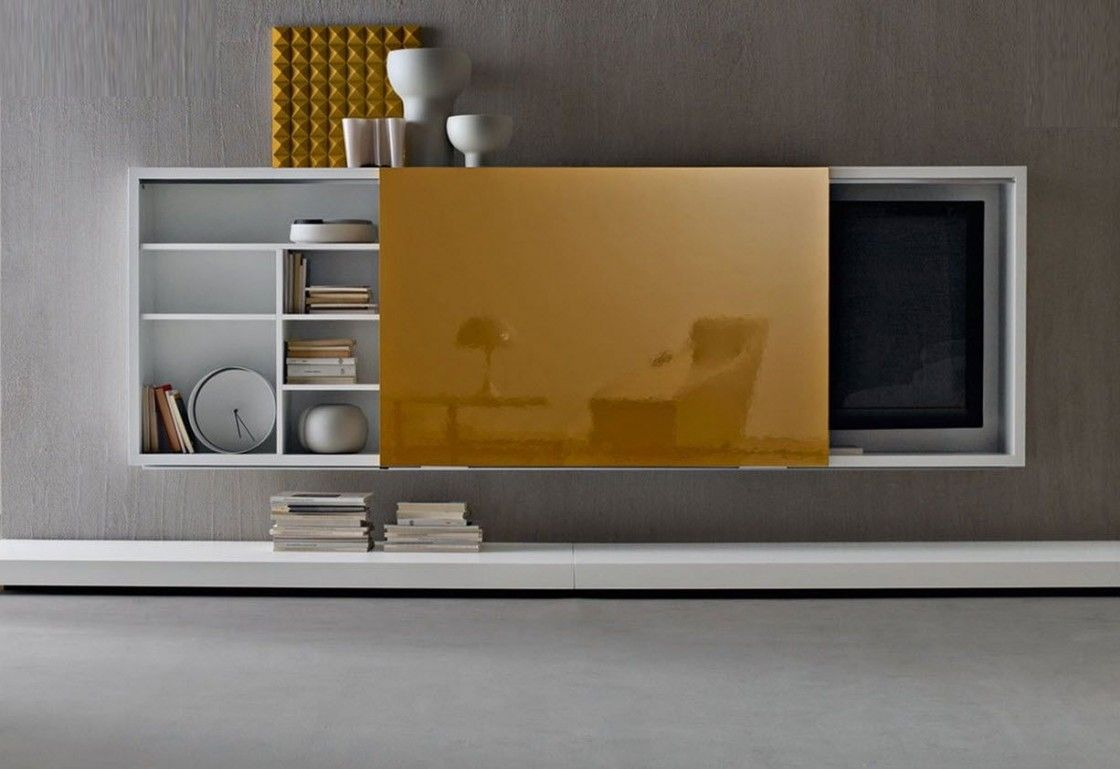 Awesome Wall Tv Cabinet Design With Glossy Yellow Melamine Finish That Resists Scratches Sliding