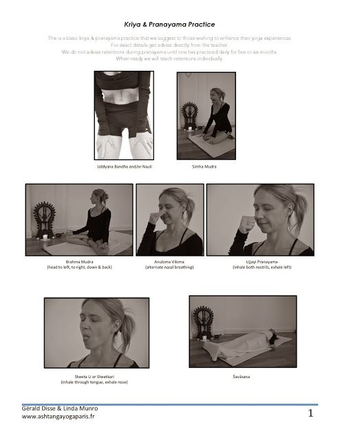 Ashtanga Yoga Paris: Practice Sheets