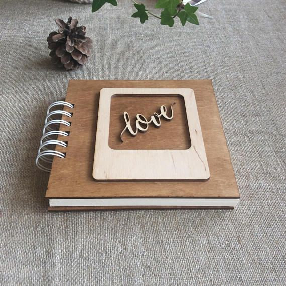 Gift For Mom, Square Photo Book, Wooden Cover, Spiral Bind
