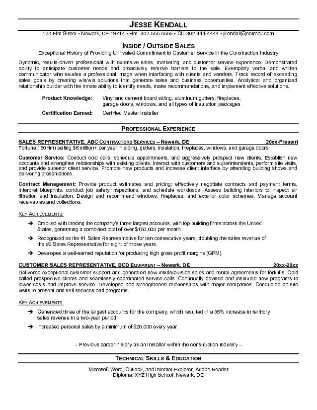 outside sales resume sample free templates template builder resumes - Outside Sales Resume Examples