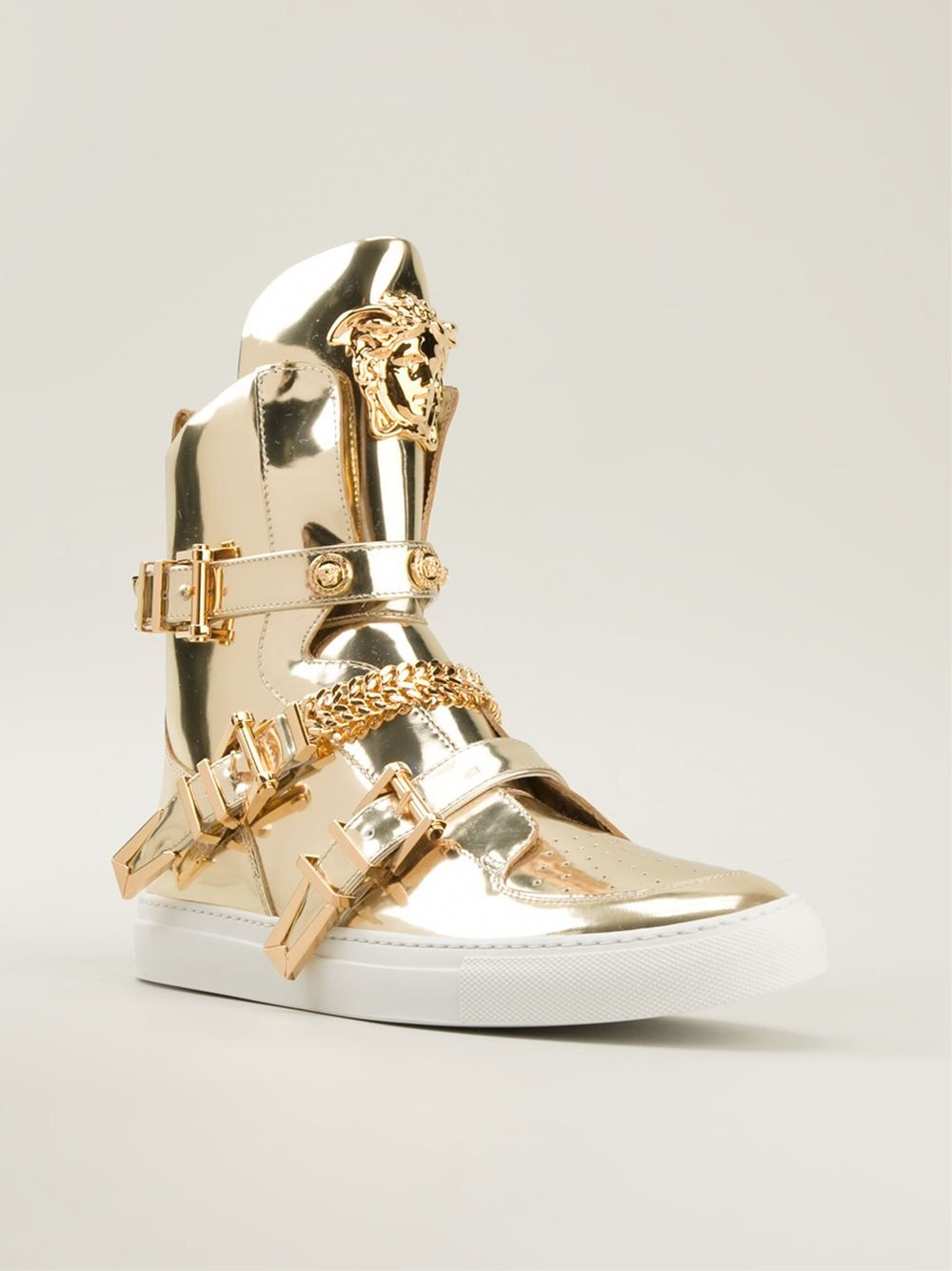 versace medusa gold leather hi top sneakers baskets pinterest bottes. Black Bedroom Furniture Sets. Home Design Ideas