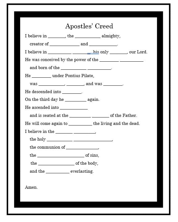 Apostles Creed Prayer Worksheet Apostles Creed Prayer Worksheet Catholic Catechism