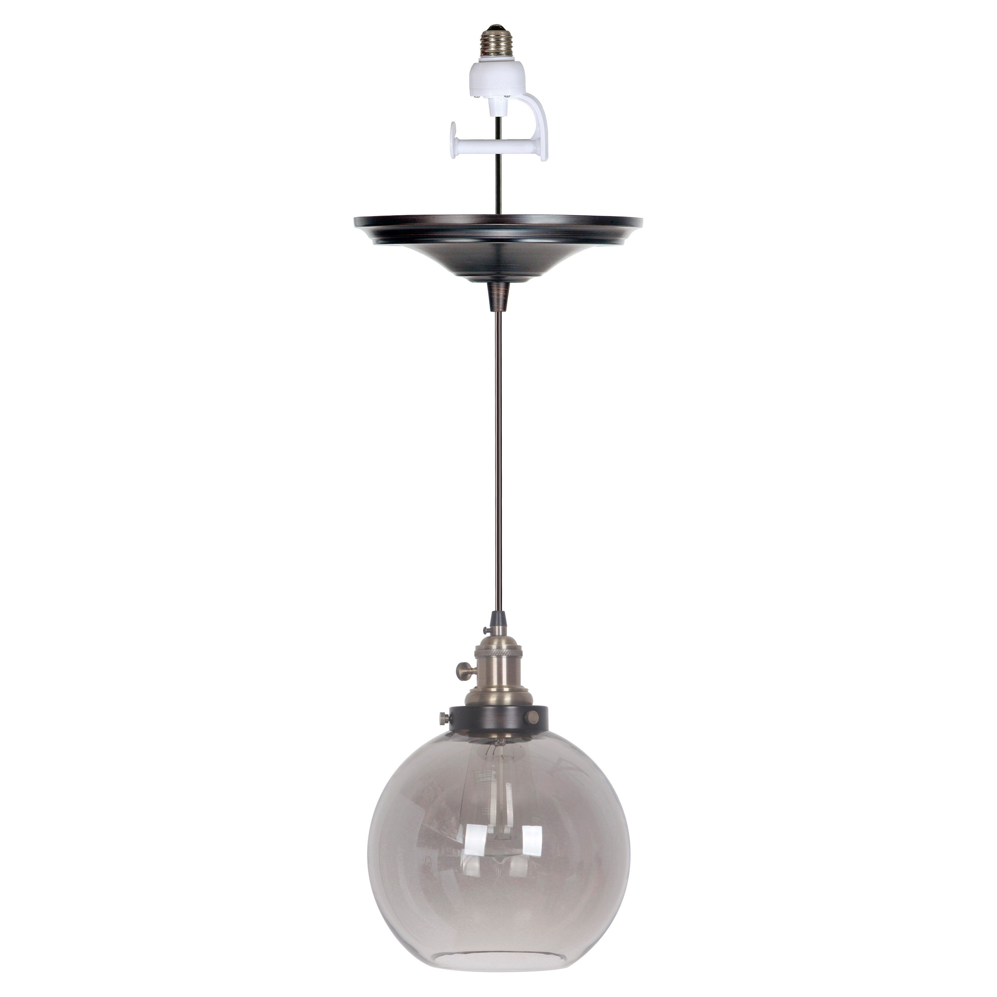 Worth Home Products Instant Screw In Pendant Light With Gray Clear