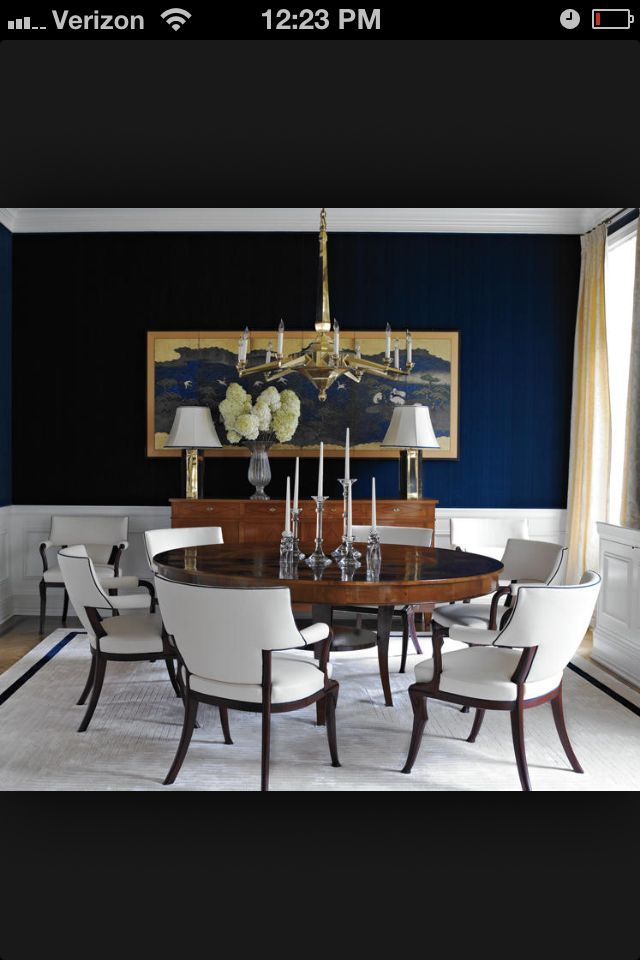 Navy Dining Room With White Wainscoting I Love This Color Nursery
