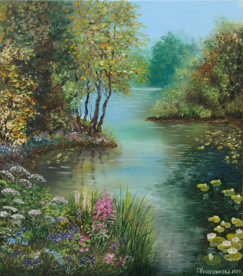 Summer Landscape Forest Lake Oil Painting Oil Canvas Etsy Landscape Art Painting Oil Painting Nature Landscape Paintings