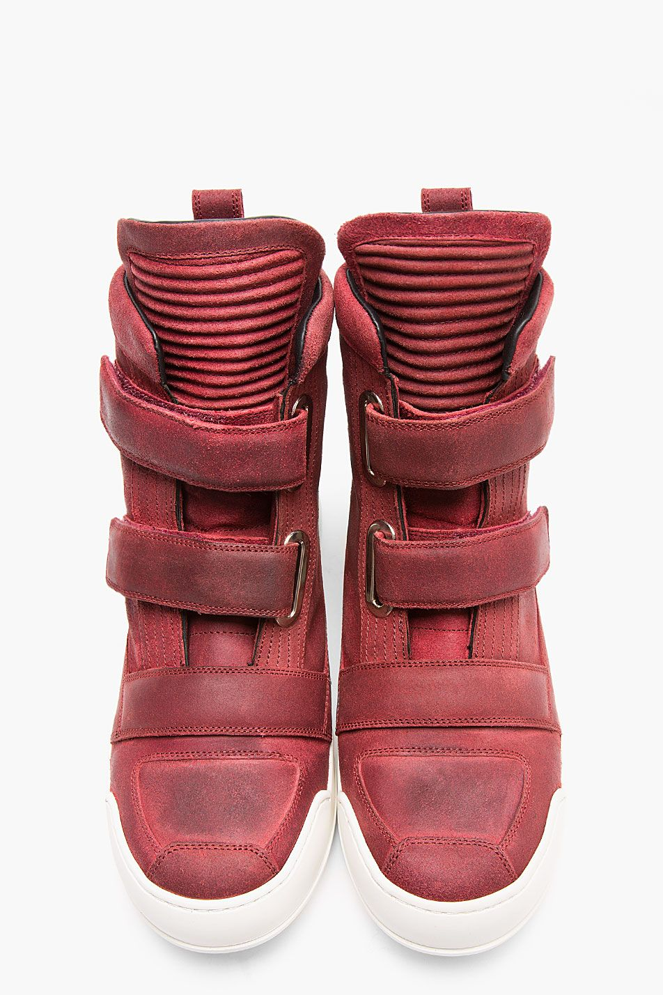56250c8a62 Balmain Red Suede Velcro Biker High-top Sneakers for men | SSENSE ...