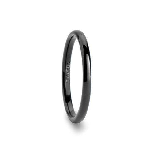 TULSA Domed 2mm Black Tungsten Carbide Wedding Band For