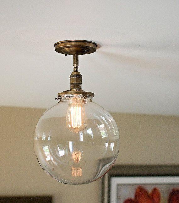 Large Clear Glass Globe Flush Mount Light 12 Glass Globe Semi