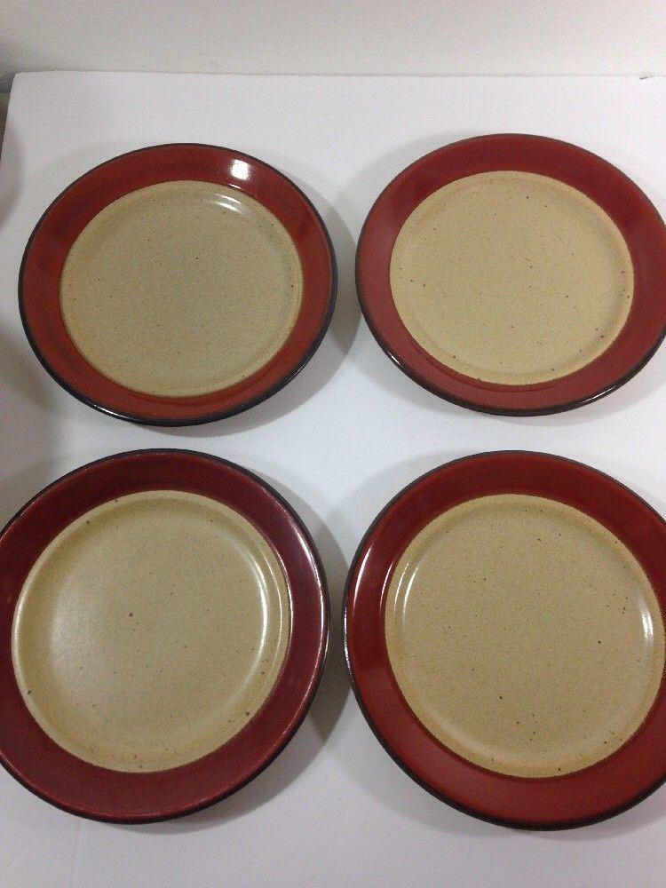 Bob Van Allen Vintage Stoneware Mikasa Dinnerware Village Potter Burgundy Plates | eBay & Bob Van Allen Vintage Stoneware Mikasa Dinnerware Village Potter ...