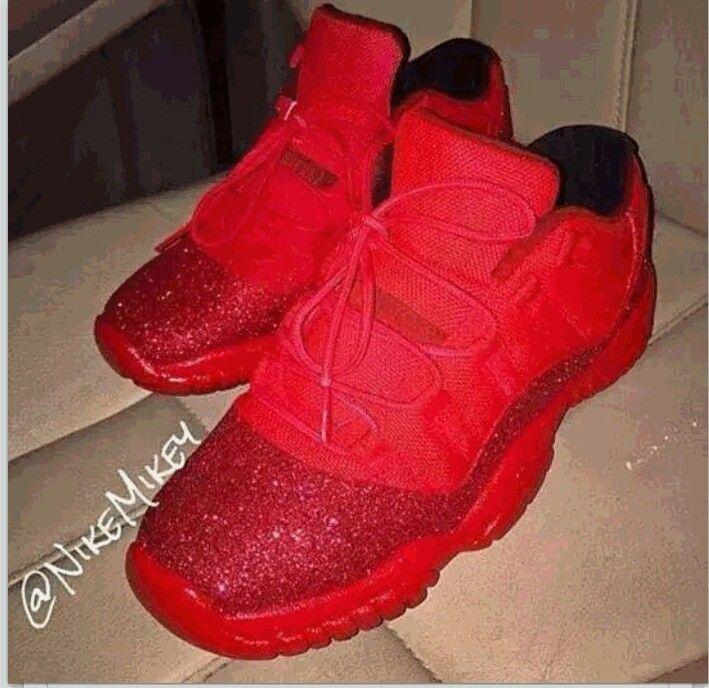 buy popular 94401 59b9c Red Glitter Custom 11s 😍