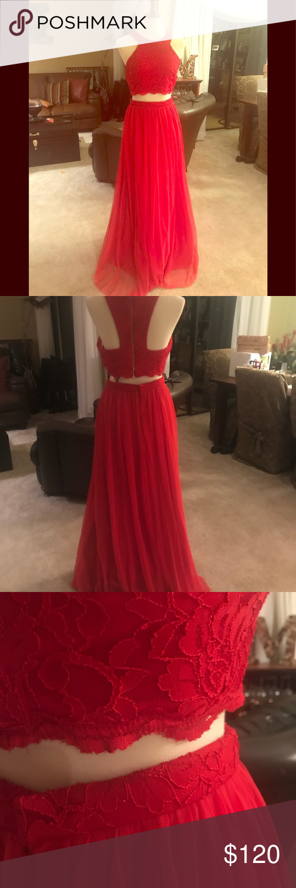 piece formal dress true red red lace and dress prom