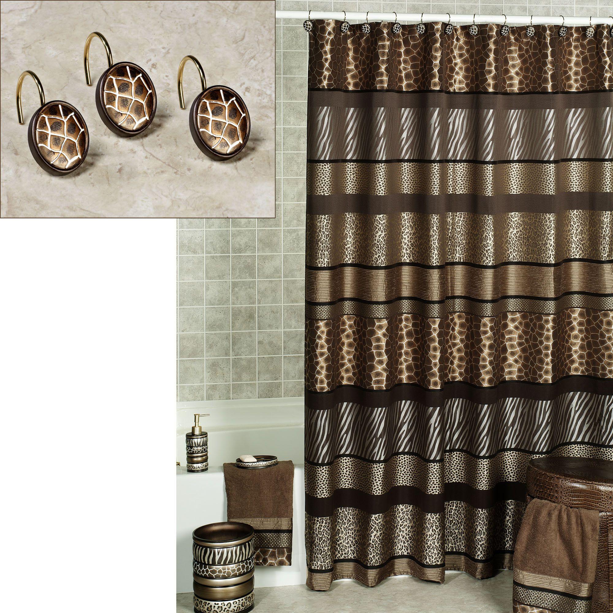 Leopard shower curtain - Safari Stripes Animal Print Shower Curtain