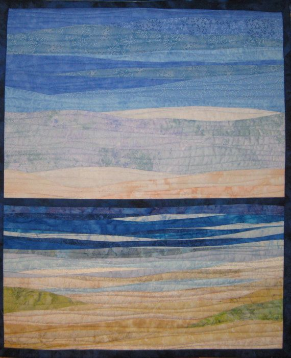 Beach Landscape With Fishermen: Art Quilt Ocean And Sand Dunes By ArtQuiltsBySharon On