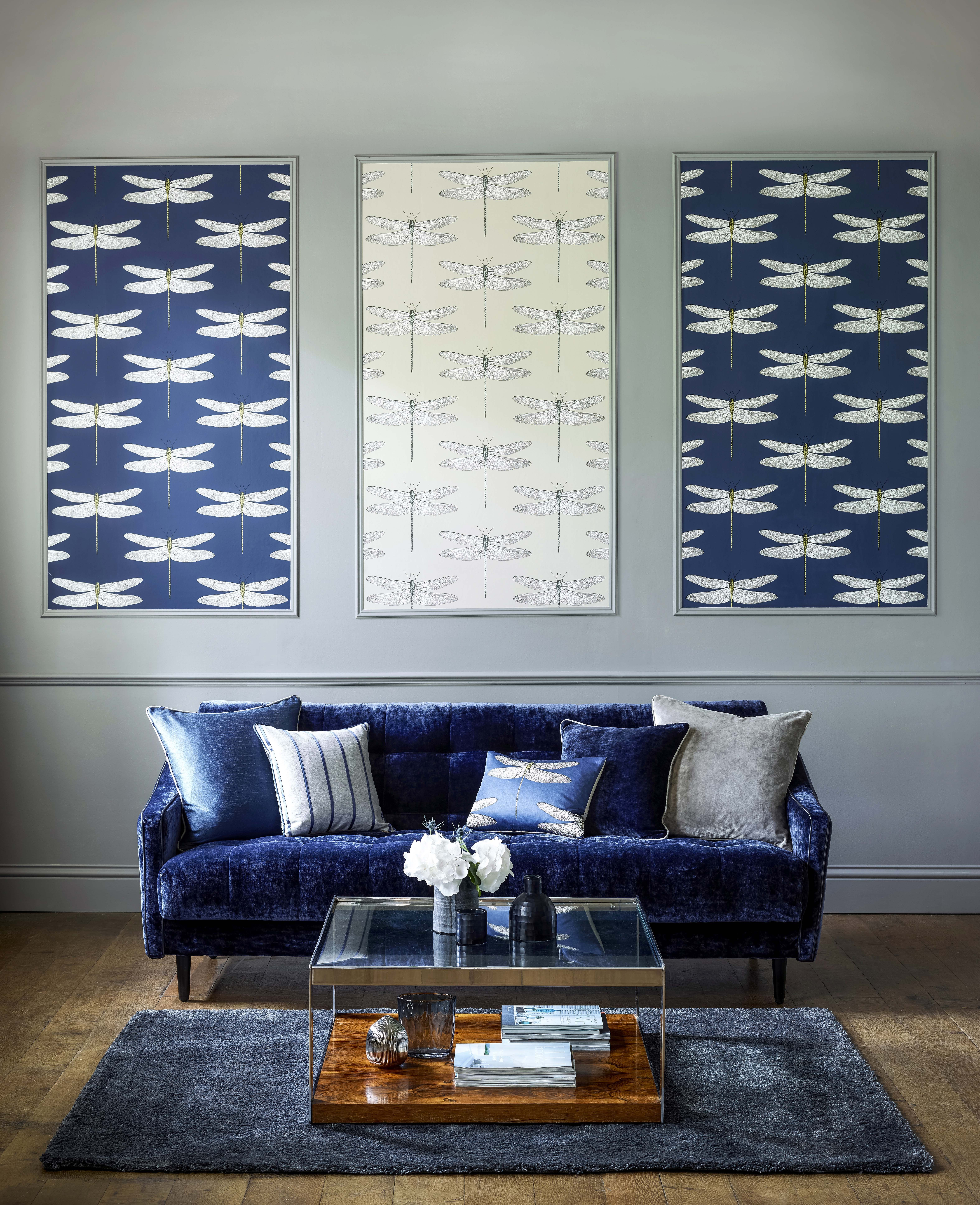 Wallpaper, Harlequin, Dragonfly, Blue Wall